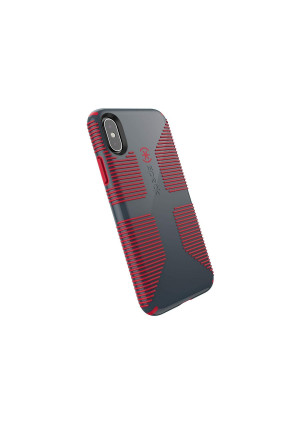 Speck Products CandyShell Grip iPhone Xs/iPhone X Case, Charcoal Grey/Dark Poppy Red