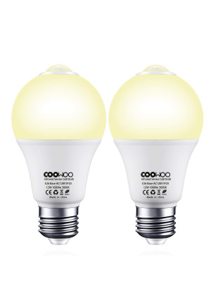 Motion Sensor Light Bulbs 12W Dusk to Dawn PIR Built-in Motion Detector Smart Bulbs E26 Base A19 Indoor Outdoor LED Light Bulbs 3000K Warm White 1000 Lumens Security Night Lights 2 Pack by COOWOO