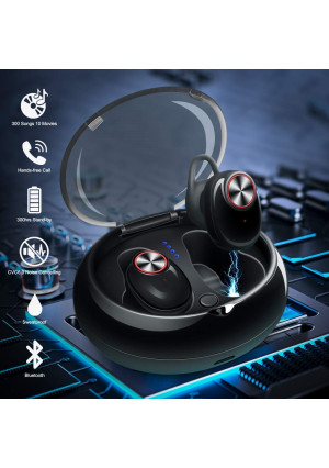 Mini Wireless Bluetooth Earbuds Invisible Noise Cancelling Headphone In Ear Business Earphone Stereo Sports Car Headset with Mic Smallest Earpiece Magnetic Charger Case for IOS Android Cell Phone