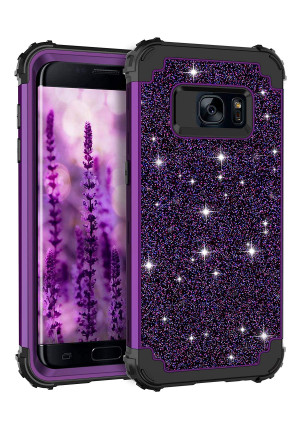Casetego Compatible Galaxy S7 Case,Glitter Sparkle Bling Three Layer Heavy Duty Hybrid Sturdy Armor Shockproof Protective Cover Case for Samsung Galaxy S7,Shiny Purple
