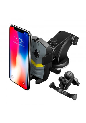 LEEIOO Car Phone Mount, Auto-Grab Function 3 in 1 Dashboard Windshield and Air Vent 360 Rotating Mobile Car Holder Compatible with iPhone 6 7 8 8 Plus X XS Max, Samsung Galaxy Note 9 S9+ etc.