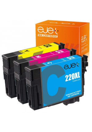 ejet Remanufactured Ink Cartridge Replacement for Epson 220XL ( Cyan, Magenta, Yellow , 3 pk )