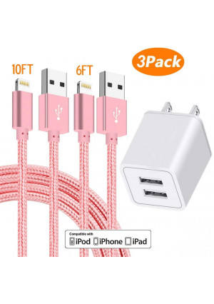 AVIOS Charger, 2.4A Dual Port USB Wall Charger Fast Charging Portable Travel Adapter w/ [2-PACK] 6FT/10FT Braided Cable Compatible with iPhone X/8/7/6S/6/Plus/5SE/5S, iPad, iPod and More - PINK