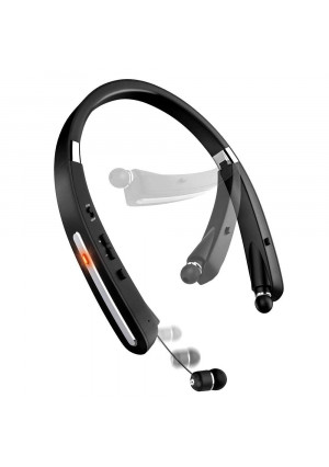 Bluetooth Headset, Bluetooth Headphones KKY-992X-LBell Wireless Neckband Design with Foldable Retractable Headset for iPhone X/ 8/7 Plus Samsung Galaxy (Jet Black)