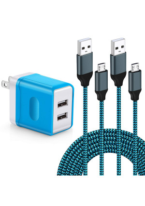 Wall Charger, Aupek Dual USB Charger Adapter USB Wall Charger with 2-Pack 10FT Braided Nylon Micro USB Cable Android Charger Cord for Android,Samsung Galaxy S7/S6 Edge J3 J7 LG,HTC,Google and More