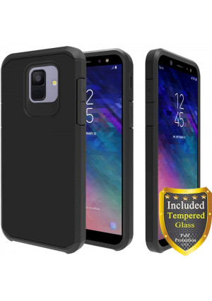 Galaxy A6 Case, Full Cover Tempered Glass Screen Protector, ATUS Hybrid Dual Layer Protective TPU Case for Samsung Galaxy A6 2018 (Black/Black)