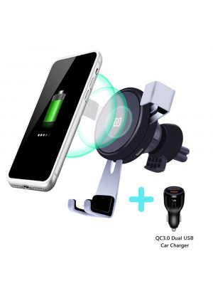 Cectdigi Wireless Car Charger,Wireless Charger Car Mount 2018 New Upgrade, 10W Qi Fast ChargingCar Wireless ChargerUniversal Compatibility QI-Enabled Phones and Devices