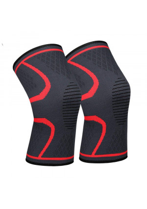 Lonew Compression Knee Sleeve, Best Knee Brace Support for Sports, Running, Jogging, Basketball, Joint Pain Relief, Arthritis and Injury RecoveryandMore, Men and Women (2 Piece)