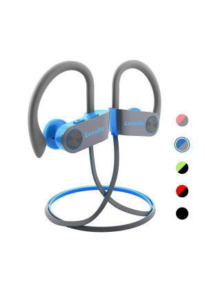 Letsfit Bluetooth Headphones, Wireless Headphones with Mic, HD Stereo Sport Earbuds for Gym Running Workout, IPX7 Waterproof Sweatproof Earphones, 8 Hours Battery Noise Cancelling Headsets