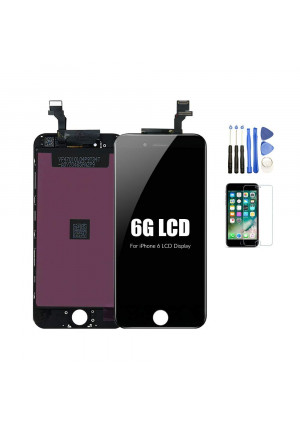 """recyco Compatible LCD Screen Replacement Black for iPhone 6 4.7"""" Digitizer Touch Screen Full Assembly Set with Free Tools"""