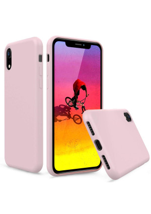 PENJOY Silicone Case for Apple iPhone XR 6.1 inch (2018 New), Full Body Protection Silicon Cases Support Wireless Charging Slim Rubber Cover (Sand Pink)