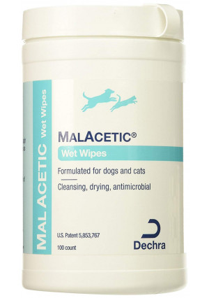 DermaPet MalAcetic Wet Wipes/Dry Bath, 100 Count