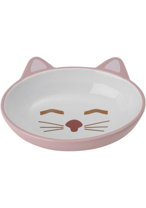 """Petrageous Designs Here Kitty 5.50"""" Oval Pet Bowl, Pink and Blue Assorted"""