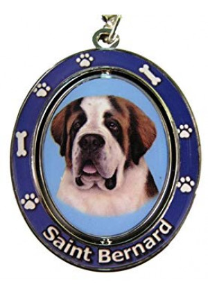 """Saint Bernard Key Chain """"Spinning Pet Key Chains""""Double Sided Spinning Center With Saint Bernards Face Made Of Heavy Quality Metal Unique Stylish Saint Bernard Gifts"""