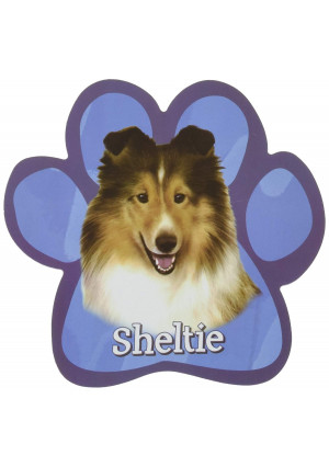 Sheltie Car Magnet With Unique Paw Shaped Design Measures 5.2 by 5.2 Inches Covered In UV Gloss For Weather Protection