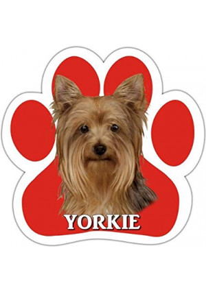Yorkie Car Magnet With Unique Paw Shaped Design Measures 5.2 by 5.2 Inches Covered In UV Gloss For Weather Protection