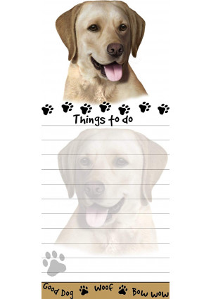 """""""Yellow Labrador Magnetic List Pads"""" Uniquely Shaped Sticky Notepad Measures 8.5 by 3.5 Inches"""