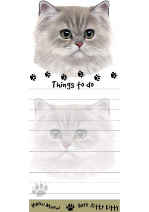 """""""Persian Cat Magnetic List Pads"""" Uniquely Shaped Sticky Notepad Measures 8.5 by 3.5 Inches"""