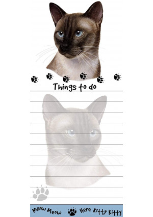 """Siamese Cat Magnetic List Pads"" Uniquely Shaped Sticky Notepad Measures 8.5 by 3.5 Inches"