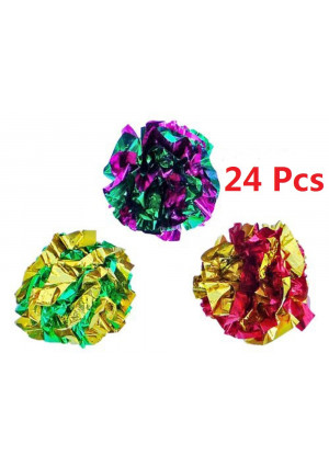 PetFavorites trade; Mylar Crinkle Balls Cat Toys Best Interactive Crinkle Cat Toy Balls Ever Independent Pet Kitten Cat Toys for Fat Real Cats Kittens Exercise, Soft/Light/Right Size