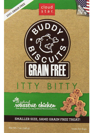 Cloud Star Grain Free Itty Bitty Buddy Biscuits in A Bag, 7-Ounce, Rotisserie Chicken