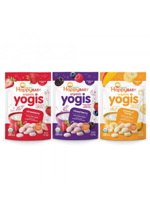 Happy Baby Organic Yogis Freeze-Dried Yogurt and Fruit Snacks, 1 Ounce Bags (3 Count Variety Pack) Mixed Berry, Banana Mango, Strawberry, Gluten-Free Easy to Chew Probiotic Snacks for Babies and Tots