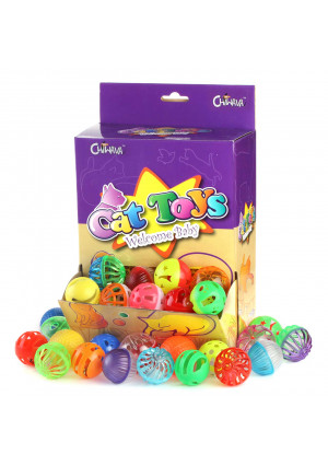 Chiwava 48 Pack Plastic Noisy Cat Toy Balls with Bell Kitten Chase Toy 8 Types Assorted Color Size