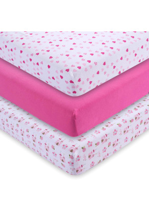 MandY Fitted Crib Sheets (3-Pack), Girls, 52x28x9 in