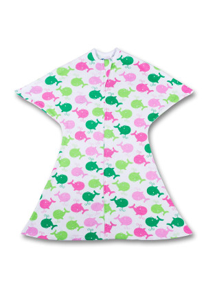 Pink and Green Whales Zipadee-Zip (Small 4-8 Months (11-20 lbs, 23-25 inches))