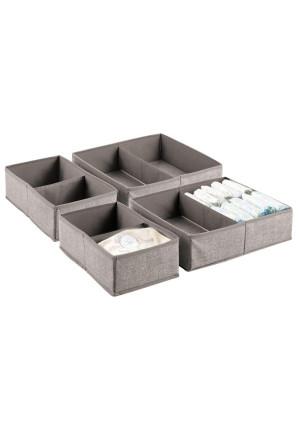 mDesign Soft Fabric Dresser Drawer and Closet Storage Organizer Set for Child/Kids Room, Nursery, Playroom, Bedroom - Rectangular Organizer Bins with Textured Print - Set of 4 - Linen/Tan