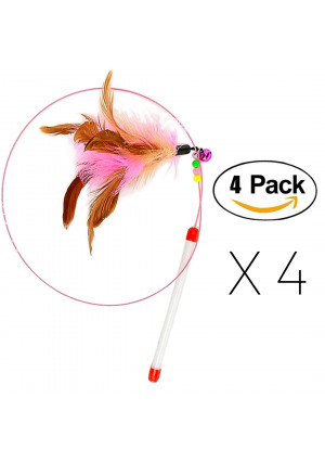 FANCER Cat Toy Feather Wand, Bundle of 4 Pack Interactive Pet Cat Kitten Chaser Teaser Wire Wand with Bell Beads for Cat Exercise Play Fun Gifts - Wholesale