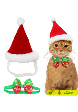 Adorable Cute Cat Dog Christmas Santa Hat and Bow Tie Collar for Cats Kitten Puppy Small Pets, Red and White