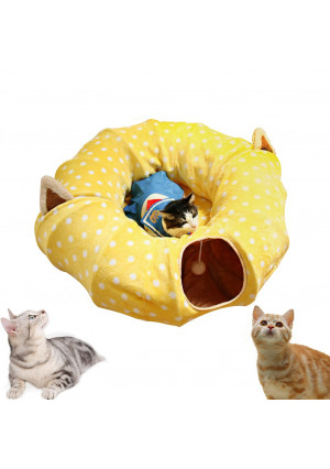 "AUOON Cat Tube and Tunnel with Central Mat for Cat Dog, Soft Mink Cashmere and Full Moon Shaped, Length 98"" Diameter 9.8"", 2 Color"