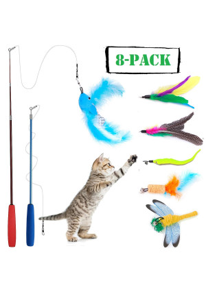 8 Pcs Cat Feather Toy, Cat Toy Wand, Teaser Wand Toy Set, Keklle Cat Toys Interactive Retractable Wand Rod with Assorted Feather Toy for Exercising Kitten or Cat