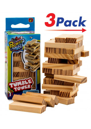 Travel Tumble Tower (3 Pack) by JARU   Board Game Take it Anywhere Play it Everywhere   Item #3276-3