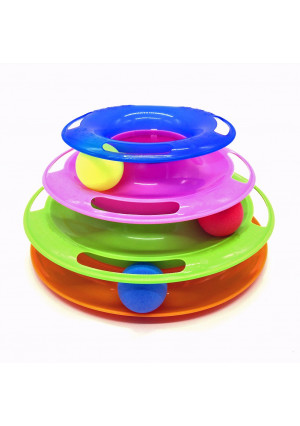 Irispets interactive Cat Toy, three layer colorful Cat track tower toy  Great for multiple cats