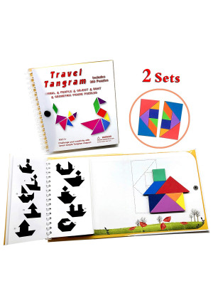 Tangram Travel Games 360 Magnetic Puzzles and Questions Build Animals People Objects with 7 Simple Magnetic Colorful Shapes Kid Adult Challenge IQ Educational Book2 Set of Tangrams