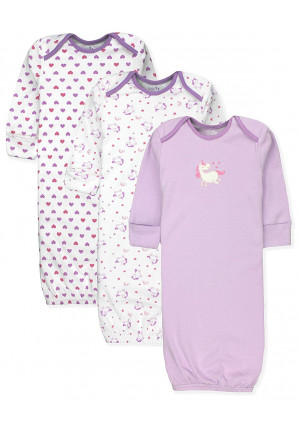 Maybe Baby Kids Infant Boys' and Girls' 3 Pack Set Cotton Baby Gowns w/Mitten Cuffs, 0-6 Months