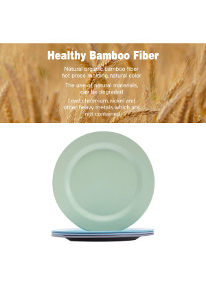 4pcs Bamboo Kids Plates for Baby feedingNon Toxic and Safe Toddler Plates, Eco-Friendly Tableware for Baby Toddler Kids Bamboo Toddler Dishes and Dinnerware Sets,01