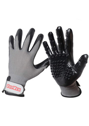Petvex Pet Grooming Gloves - Deshedding Gloves - For Dogs, Cats, and Horses - Fur Removal and Massaging - Adjustable Wrist Strap