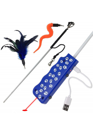 Pet Fit For Life Feather/Squiggly Worm Cat Wand and Light Chaser Combo Toy W/Bird Chirping Call to Action (Patented)