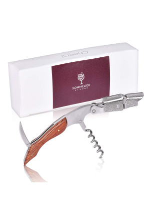 Wine Opener - Waiters Corkscrew - with Foil Cutter - Double Hinged - Stainless Steel with Rosewood Handle by Sommelier at Home - All in One Corkscrew - Bottle Opener for Home and Professional Use