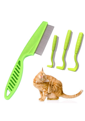 Purrkins Flea Comb and Tick Remover Tool for Cats and Dogs