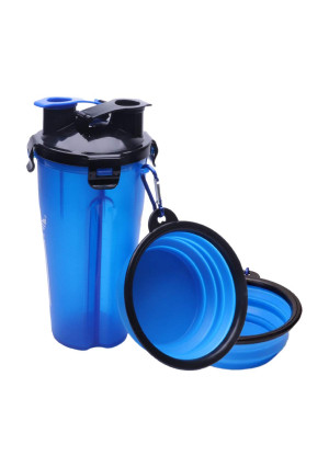 Daily buy 2 in 1 Dog Water Bottle Food Container Travel 2 Bowls Collapsible Pets Feeding Dispenser