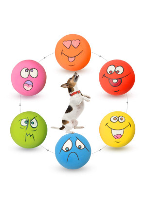 HOLYSTEED Latex Dog Squeaky Toys Rubber Soft Dog Toys Chewing Squeaky Toy Fetch Play Balls Toy for Puppy Small Medium Pets Dog cat 6PCS/Set
