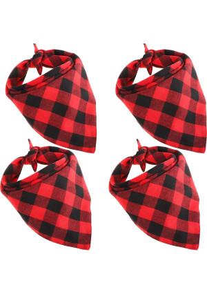 Bememo 4 Pieces Dog Scarf Pet Bandanas Triangle Pet Saliva Towel Red Black Plaid Kerchief for Pet Supplies