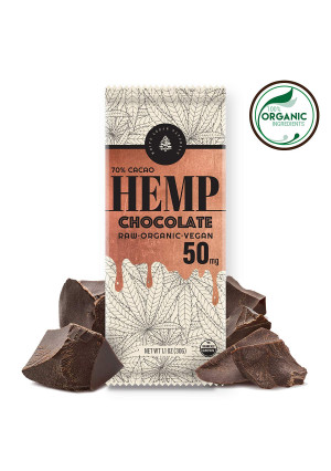 Organic Raw Hemp Extract Chocolate - 50MG - Helps Relieve Pain, Stress and Anxiety - Made with Full Spectrum USA Grown Hemp Oil Extract, Rich in Omega 3-6-9 and Vitamin E, Non-GMO, GF, Kosher. 1-Pack