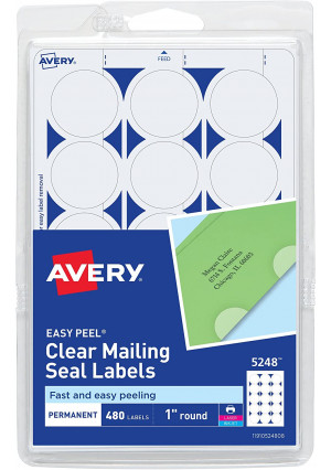 """AVERY Perforated Mailing Seals, Clear, 480 per Pack (05248), 1"""" Diameter"""