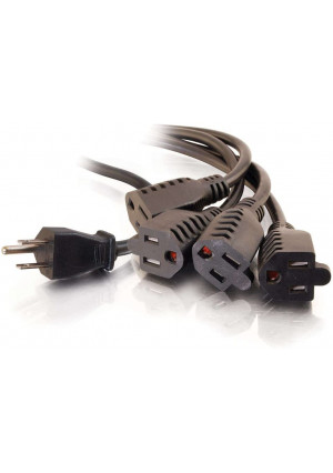 C2G 4 Outlet Power Cord Splitter - 16 AWG Power Squid Extends 6ft From The Wall - 1 In 4 Out Plug Is Ideal For Home Use, Travel, DJ Setups, and Holiday Lights - 29808