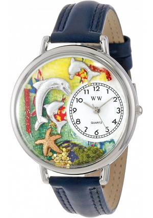 Whimsical Watches Unisex U0140004 Dolphin Navy Blue Leather Watch